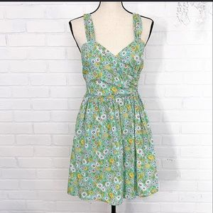 Moon Spring Summer Floral Green Blue Day Dress